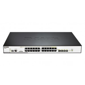 Switch Managed - D-Link xStack3120-24PC - 24 porte Gigabit PoE+ di cui 4 porte combo mini-GBIC/1000Base-T