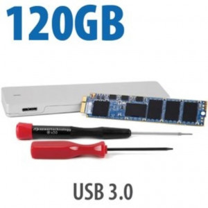 SSD OWC Aura 6G 120GB - 501/503MBps - PCIe  - Kit con box Envoy USB per SSD Apple - Compatibile MBA 2012