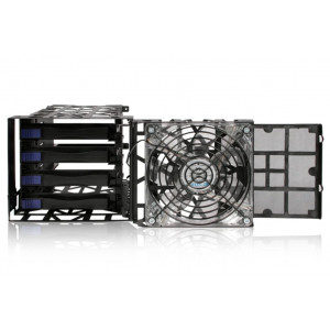 """IcyDock Black Vortex MB074SP-B - 4 Bay 3.5"""" Hard Drive Cooler Cage with 120mm Front LED Fan in 3x External 5.25"""" Bay"""