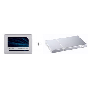 "Kit Box BeStor con SSD 2,5"" SATA da 500GB- interfaccia USB-C - box in alluminio colore silver - Con cavo USB-C/C+USB-C/3.0"