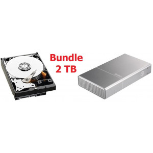 "Kit Box BeStor con HDD 3,5"" SATA da 2TB- interfaccia USB 3.0 - box in alluminio colore space gray da 3.5'' - Con cavo USB incluso."