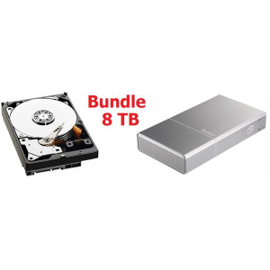 "Kit Box BeStor con HDD 3,5"" SATA da 8TB- interfaccia USB 3.0 - box in alluminio colore Silver da 3.5'' - Con cavo USB incluso."